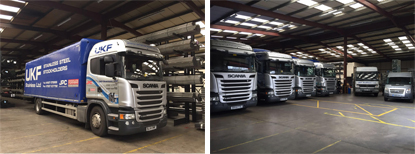 UKF Stainless fleet of lorries delivering stainless steel tube to your door
